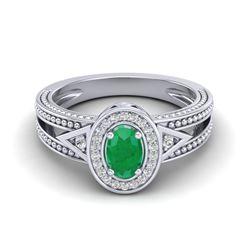 0.83 CTW Emerald & VS/SI Diamond Solitaire Halo Fashion Ring 10K White Gold - REF-25T8M - 20836