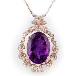 12.8 CTW Amethyst & Diamond Necklace 14K Rose Gold - REF-103M3H - 10042