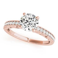0.7 CTW Certified VS/SI Diamond Solitaire Antique Ring 18K Rose Gold - REF-115W3F - 27244