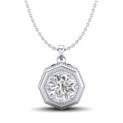 0.75 CTW VS/SI Diamond Solitaire Art Deco Stud Necklace 18K White Gold - REF-180K2W - 37097