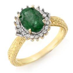 2.75 CTW Emerald & Diamond Ring 10K Yellow Gold - REF-49H3A - 12411