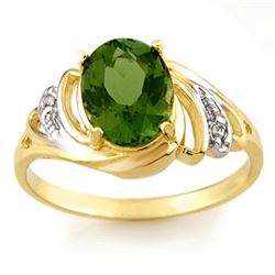 2.54 CTW Green Tourmaline & Diamond Ring 10K Yellow Gold - REF-39F3N - 11476