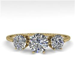1 CTW Past Present Future Certified VS/SI Diamond Ring 18K Yellow Gold - REF-157K5W - 35905