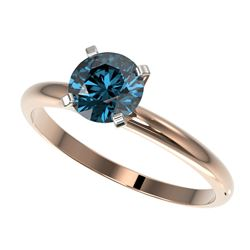 1 CTW Certified Intense Blue SI Diamond Solitaire Engagement Ring 10K Rose Gold - REF-136K4W - 32891