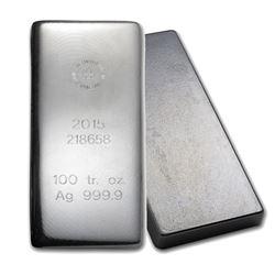 One piece 100 oz 0.999 Fine Silver Bar Republic Metals Corporation-57949