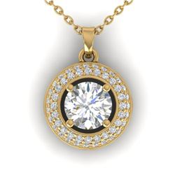 1.1 CTW Certified VS/SI Diamond Micro Halo Stud Necklace 14K Yellow Gold - REF-180X2T - 30494