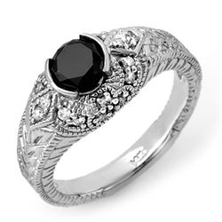 1.20 CTW VS Certified Black & White Diamond Ring 14K White Gold - REF-72W5F - 11806