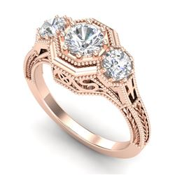 1.05 CTW VS/SI Diamond Solitaire Art Deco 3 Stone Ring 18K Rose Gold - REF-200T2M - 37101