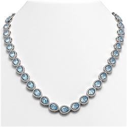33.35 CTW Aquamarine & Diamond Halo Necklace 10K White Gold - REF-738M2H - 41066