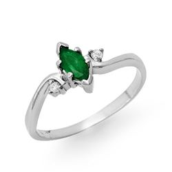 0.29 CTW Emerald & Diamond Ring 14K White Gold - REF-17M3H - 12970