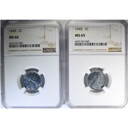 2 - 1943 STEEL CENTS NGC MS65 & MS66
