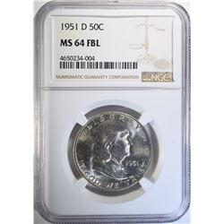1951-D FRANKLIN HALF DOLLAR, NGC MS-64 FBL