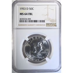 1953-D FRANKLIN HALF DOLLAR, NGC MS-64 FBL