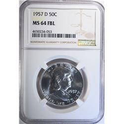 1957-D FRANKLIN HALF DOLLARS, NGC MS-64 FBL