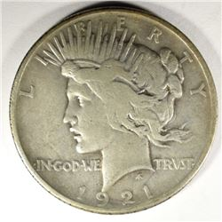 1921 PEACE SILVER DOLLAR, VF