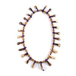Plains Indian Petrified Buffalo Teeth Necklace