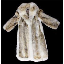 Full Length Grey Wolf Fur Coat With White Fox Trim