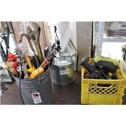 PAIL OF TOOLS AND PAINT SPRAY POT AND CRATE OF TOOLS