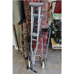 SHOPPING CART AND CRUTCHES AND WALKING STICK