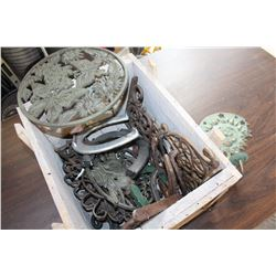 CRATE OF CAST IRON HORSE SHOES AND DECOR