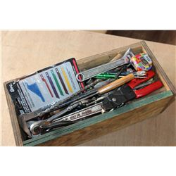 WOOD BOX OF TOOLS