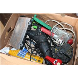BOX OF TOOLS AND LIGHT AND HEATER