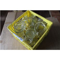 YELLOW CRATE OF CLEAR PYREX
