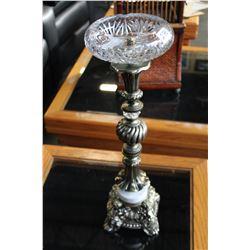 VINTAGE GLASS AND METAL ASHTRAY STAND