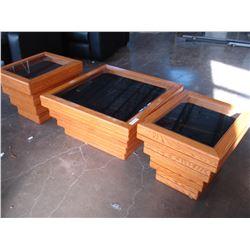 THREE PIECE OAK COFFEE TABLE SET WITH SHADOW BOX GLASS TOP STORAGE