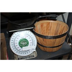 WEIGH SCALE CAST FRYPAN AND APPLE BASKET