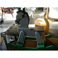 WOOD ROCKING HORSE TOY ON