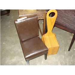 KIDS LEATHER CHAIR AND WOOD CHAIR