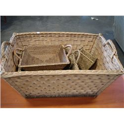 LARGE WICKER LAUNDRY BASKET AND OTHER BASKETS AND GUITAR