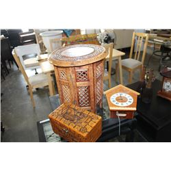 FOLDING EASTERN TABLE AND CARVED EASTERN BOX AND CUCKOO CLOCK NO WEIGHTS
