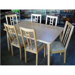 MAPLE DINING TABLE WITH LEAF AND 6 CHAIRS