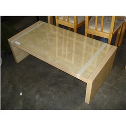 MAPLE GLASSTOP COFFEE TABLE