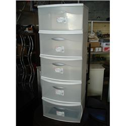 FIVE STERLITE STACKING ORGANIZER DRAWERS
