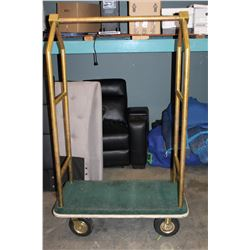 BRASS FRAMED LUGGAGE TROLLEY