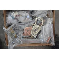 BOX OF BEADS AND JEWELERY