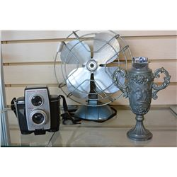 TABLE TOP LIGHTER VINTAGE FAN AND BROWNIE CAMERA