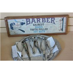 SILVER TRAY OF VINTAGE DENTAL TOOLS AND SIGN