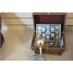 WOOD BOX OF COLLECTIBLE PINS FLAG POLE TOPPER AND BRASS BOTTLE OPENERS