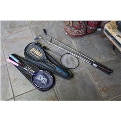 BADMINTON AND SQUASH RAQUETS AND GOLF CLUBS