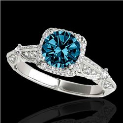 1.36 CTW Si Certified Fancy Blue Diamond Solitaire Halo Ring 10K White Gold - REF-161T8M - 33756