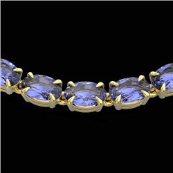 40 CTW Tanzanite Eternity Tennis Necklace 14K Yellow Gold - REF-330F5N - 23383