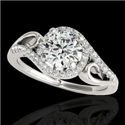 1.25 CTW H-SI/I Certified Diamond Solitaire Halo Ring 10K White Gold - REF-155F5N - 34168