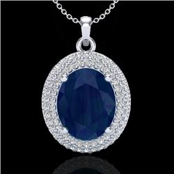 4.50 CTW Sapphire & Micro Pave VS/SI Diamond Necklace 18K White Gold - REF-120F9N - 20573