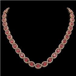 49.46 CTW Tourmaline & Diamond Halo Necklace 10K Rose Gold - REF-763Y6K - 40572