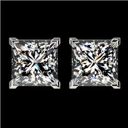 2.50 CTW Certified VS/SI Quality Princess Diamond Stud Earrings 10K White Gold - REF-840Y2K - 33114