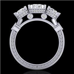 1.75 CTW VS/SI Diamond Solitaire Art Deco 3 Stone Ring 18K White Gold - REF-309W3F - 37070